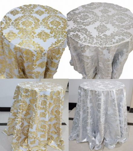 ROUND Silver Golden Floral Print TABLE COVERS Cloth Cover Catering Events UK
